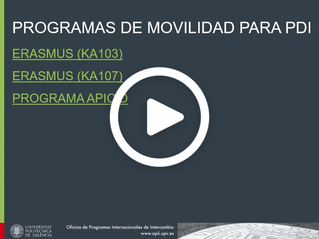 Charla informativa sobre programas de movilidad dirigidos al Personal Docente UPV